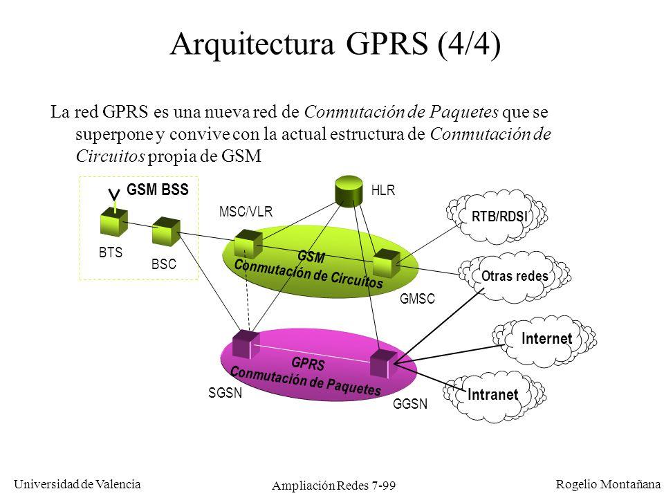 Universidad de Valencia Rogelio Montañana Ampliación Redes 7-100 Tráfico de datos en GPRS GPRS utiliza las mismas ranuras TDM que GSM, con cuatro posibles esquemas de codificación: Se pueden usar varias ranuras de un mismo canal en una misma comunicación.