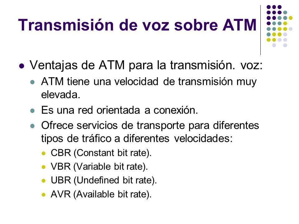 Transmisión de voz sobre ATM Ventajas de ATM para la transmisión. voz: ATM tiene una velocidad de transmisión muy elevada. Es una red orientada a cone