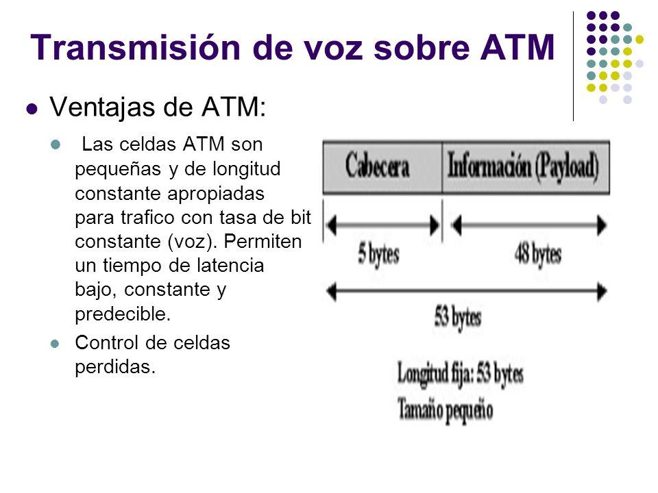 Transmisión de voz sobre ATM Ventajas de ATM: Las celdas ATM son pequeñas y de longitud constante apropiadas para trafico con tasa de bit constante (v