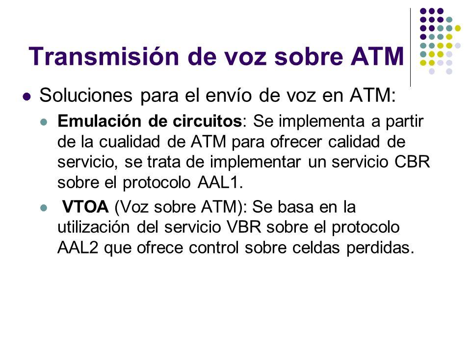 Transmisión de voz sobre ATM Soluciones para el envío de voz en ATM: Emulación de circuitos: Se implementa a partir de la cualidad de ATM para ofrecer