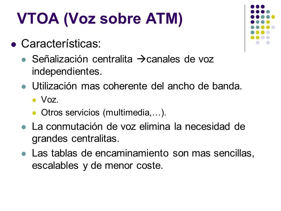 VTOA (Voz sobre ATM) Características: Señalización centralita canales de voz independientes. Utilización mas coherente del ancho de banda. Voz. Otros