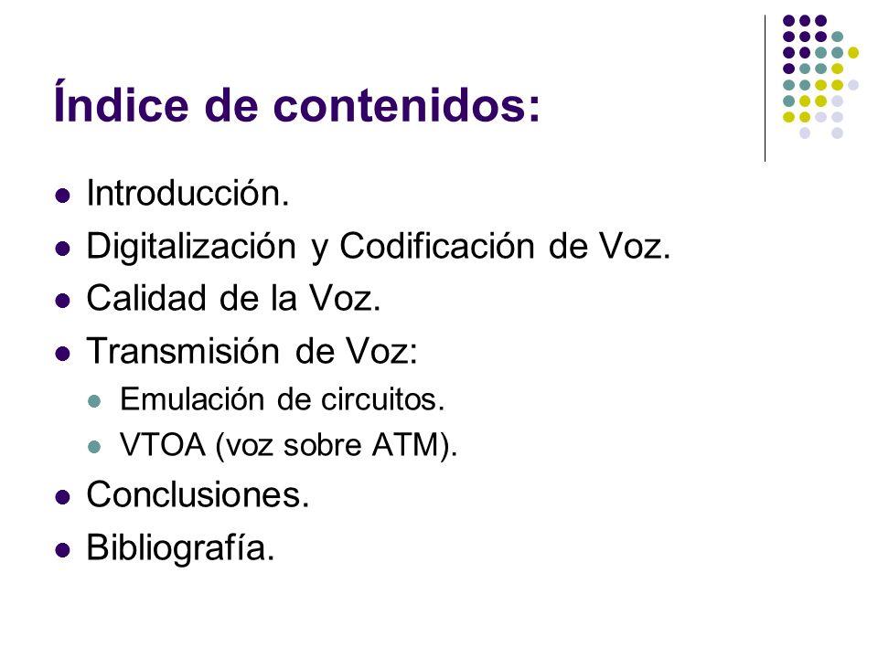 Índice de contenidos: Introducción. Digitalización y Codificación de Voz. Calidad de la Voz. Transmisión de Voz: Emulación de circuitos. VTOA (voz sob