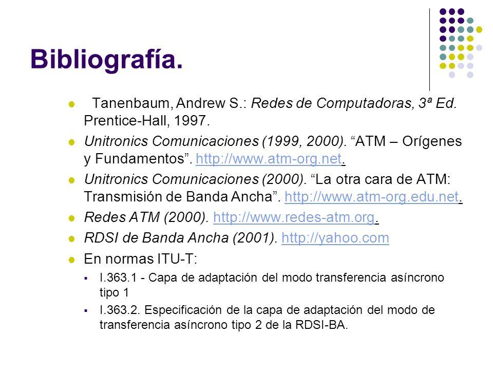 Bibliografía. Tanenbaum, Andrew S.: Redes de Computadoras, 3ª Ed. Prentice-Hall, 1997. Unitronics Comunicaciones (1999, 2000). ATM – Orígenes y Fundam