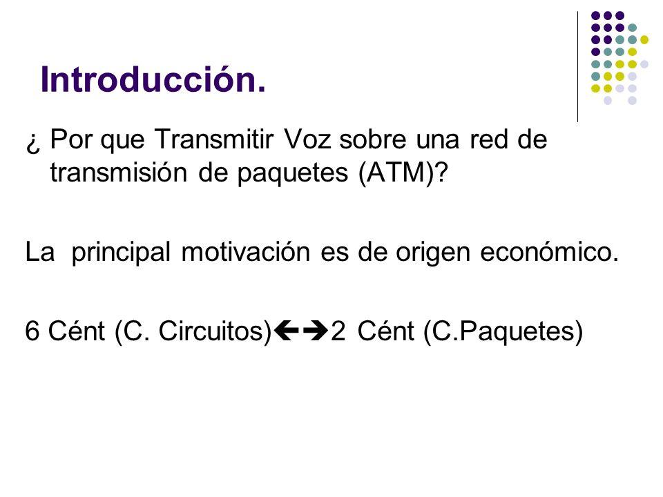 Introducción. ¿ Por que Transmitir Voz sobre una red de transmisión de paquetes (ATM)? La principal motivación es de origen económico. 6 Cént (C. Circ