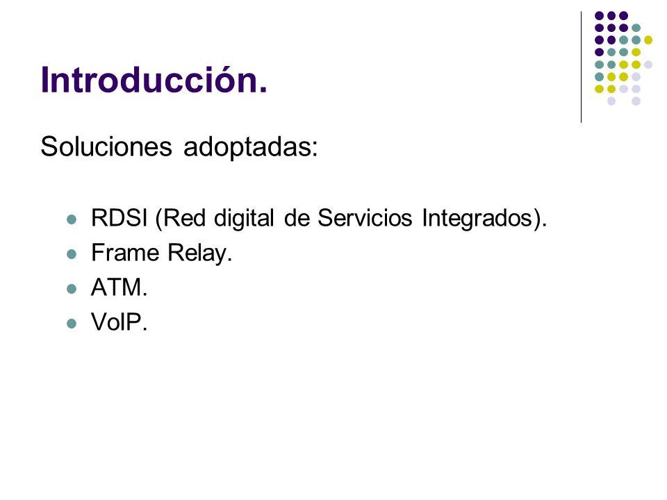 Introducción. Soluciones adoptadas: RDSI (Red digital de Servicios Integrados). Frame Relay. ATM. VoIP.