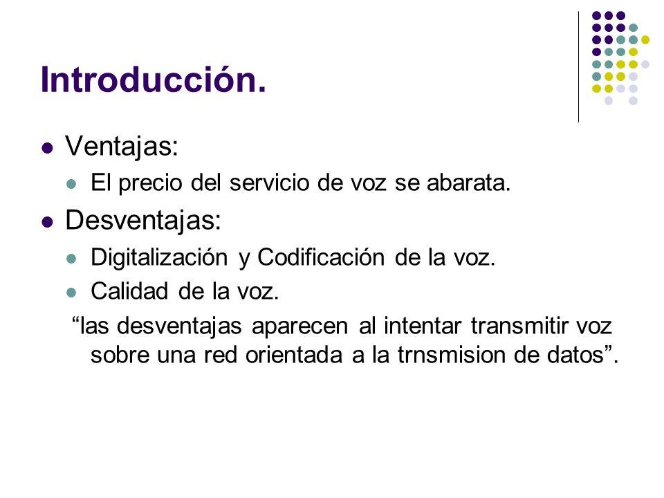 Introducción. Ventajas: El precio del servicio de voz se abarata. Desventajas: Digitalización y Codificación de la voz. Calidad de la voz. las desvent