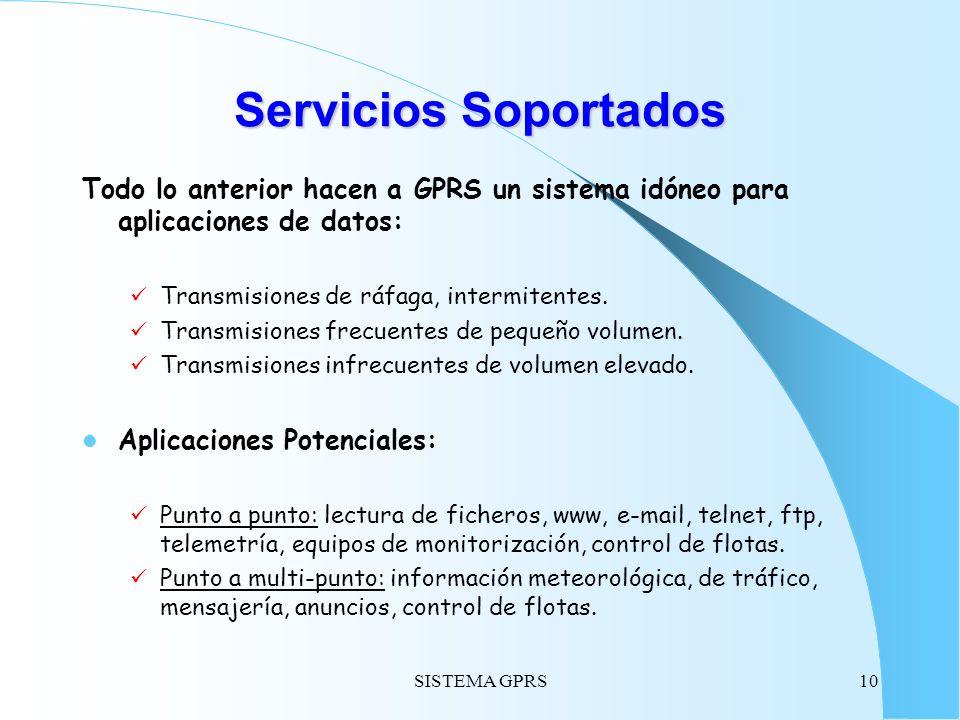 SISTEMA GPRS10 Servicios Soportados Todo lo anterior hacen a GPRS un sistema idóneo para aplicaciones de datos: Transmisiones de ráfaga, intermitentes