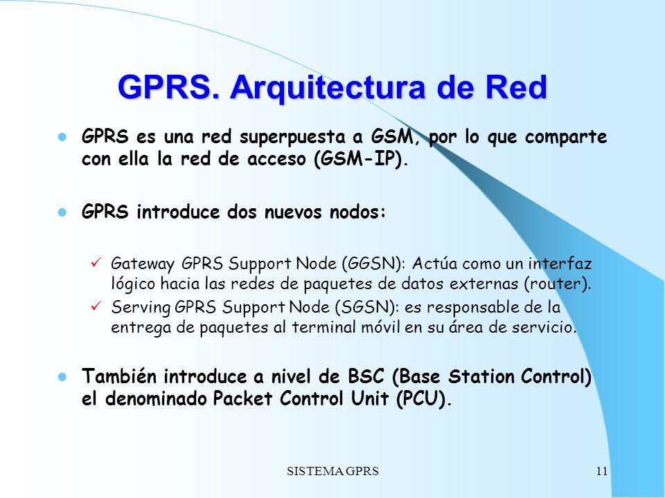 SISTEMA GPRS11 GPRS. Arquitectura de Red GPRS es una red superpuesta a GSM, por lo que comparte con ella la red de acceso (GSM-IP). GPRS introduce dos