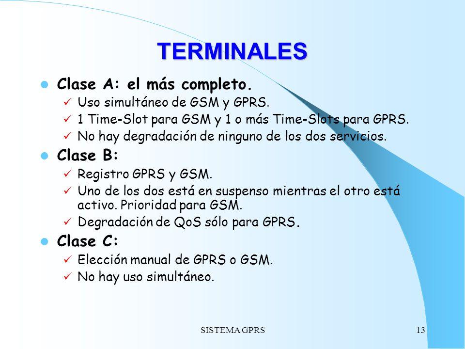SISTEMA GPRS13 TERMINALES Clase A: el más completo. Uso simultáneo de GSM y GPRS. 1 Time-Slot para GSM y 1 o más Time-Slots para GPRS. No hay degradac