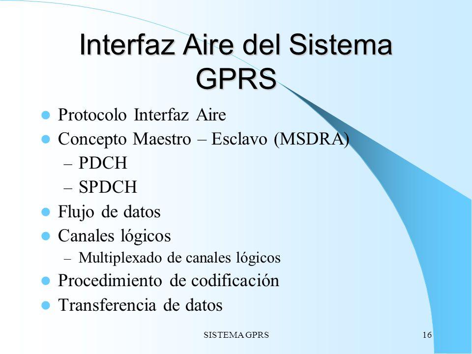SISTEMA GPRS16 Interfaz Aire del Sistema GPRS Protocolo Interfaz Aire Concepto Maestro – Esclavo (MSDRA) – PDCH – SPDCH Flujo de datos Canales lógicos