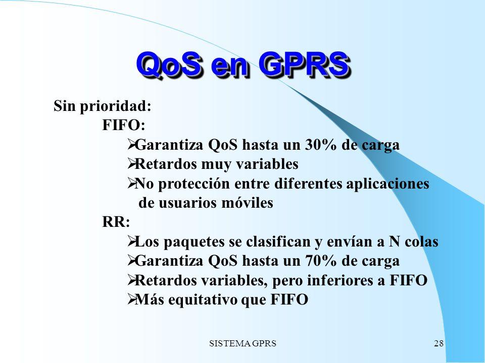 SISTEMA GPRS28 Sin prioridad: FIFO: Garantiza QoS hasta un 30% de carga Retardos muy variables No protección entre diferentes aplicaciones de usuarios