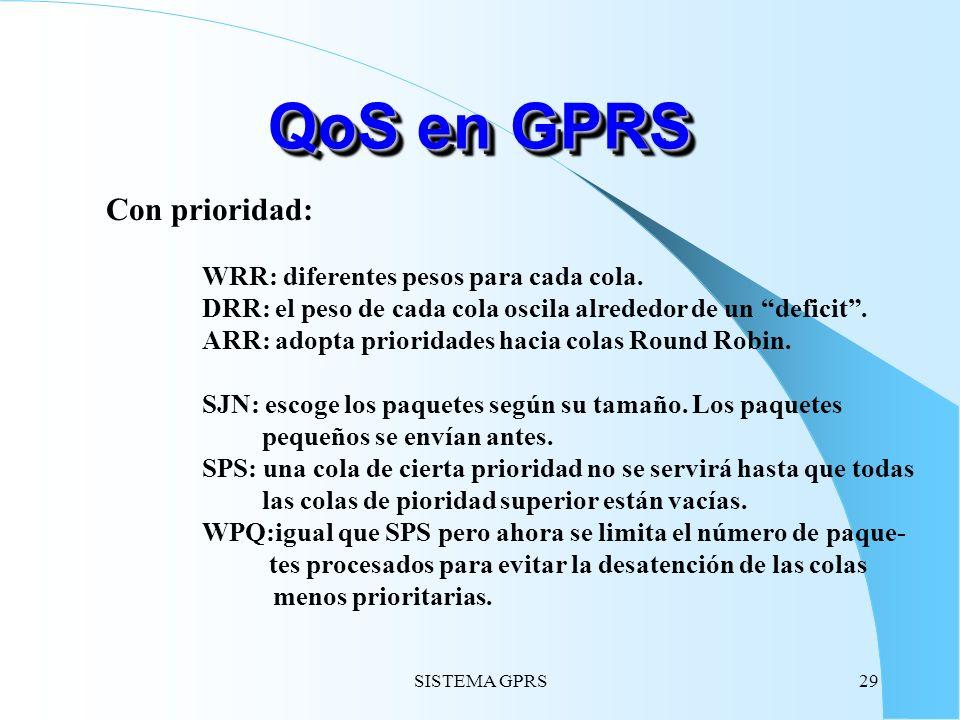 SISTEMA GPRS29 QoS en GPRS Con prioridad: WRR: diferentes pesos para cada cola. DRR: el peso de cada cola oscila alrededor de un deficit. ARR: adopta