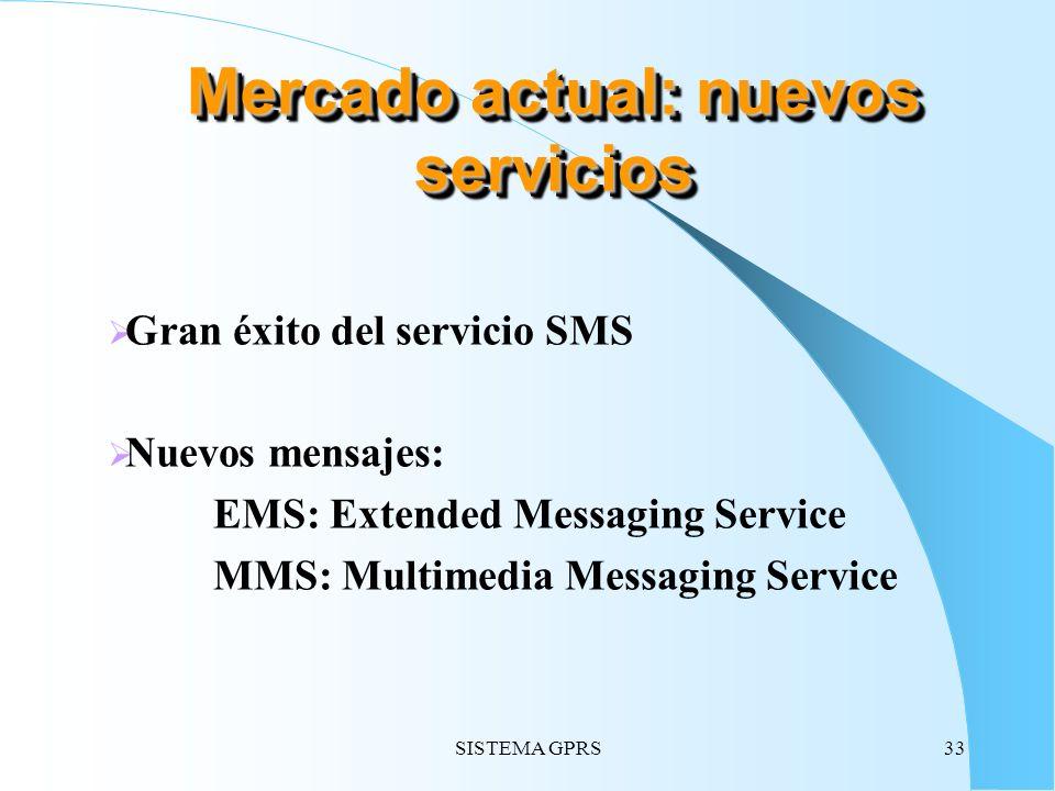 SISTEMA GPRS33 Gran éxito del servicio SMS Nuevos mensajes: EMS: Extended Messaging Service MMS: Multimedia Messaging Service Mercado actual: nuevos s