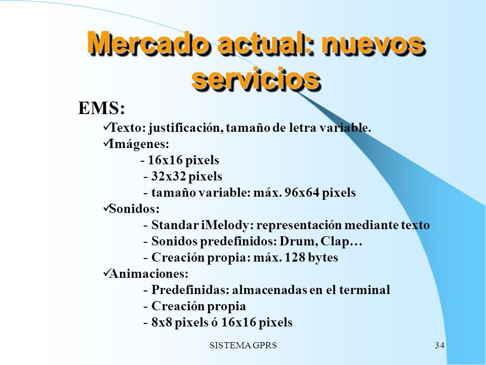 SISTEMA GPRS34 EMS: Texto: justificación, tamaño de letra variable. Imágenes: - 16x16 pixels - 32x32 pixels - tamaño variable: máx. 96x64 pixels Sonid