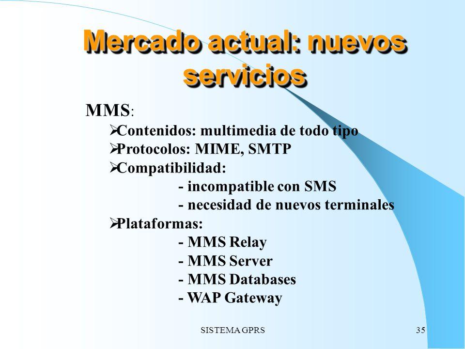 SISTEMA GPRS35 MMS : Contenidos: multimedia de todo tipo Protocolos: MIME, SMTP Compatibilidad: - incompatible con SMS - necesidad de nuevos terminale