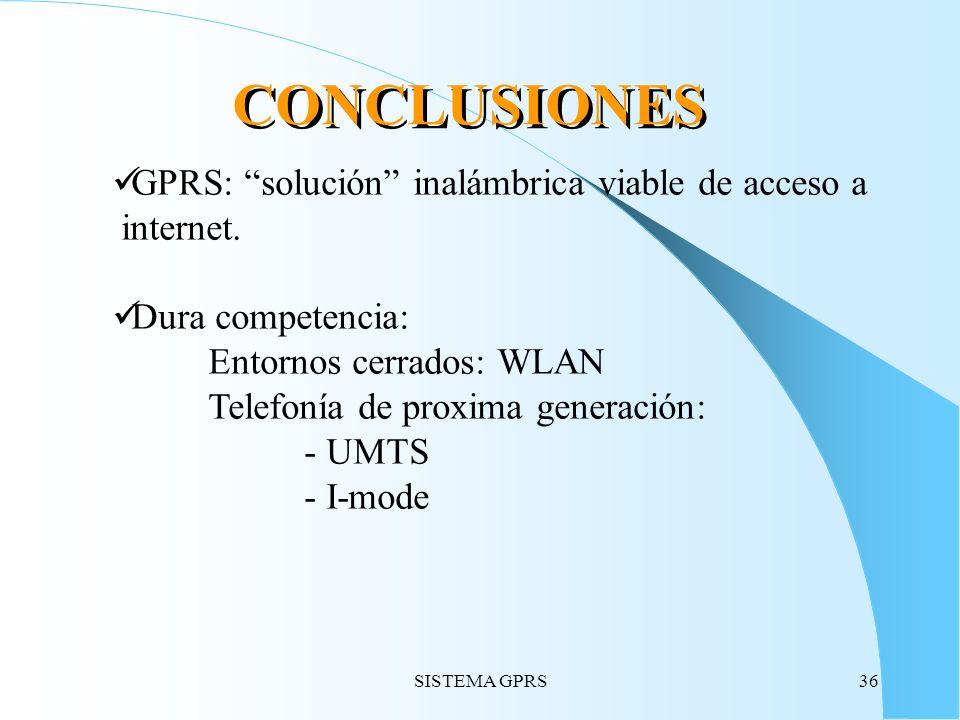 SISTEMA GPRS36 CONCLUSIONES GPRS: solución inalámbrica viable de acceso a internet. Dura competencia: Entornos cerrados: WLAN Telefonía de proxima gen