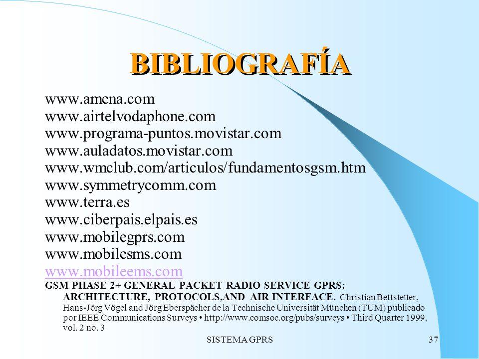 SISTEMA GPRS37 BIBLIOGRAFÍA www.amena.com www.airtelvodaphone.com www.programa-puntos.movistar.com www.auladatos.movistar.com www.wmclub.com/articulos