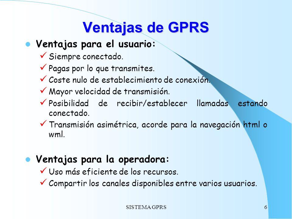 SISTEMA GPRS6 Ventajas de GPRS Ventajas para el usuario: Siempre conectado. Pagas por lo que transmites. Coste nulo de establecimiento de conexión. Ma
