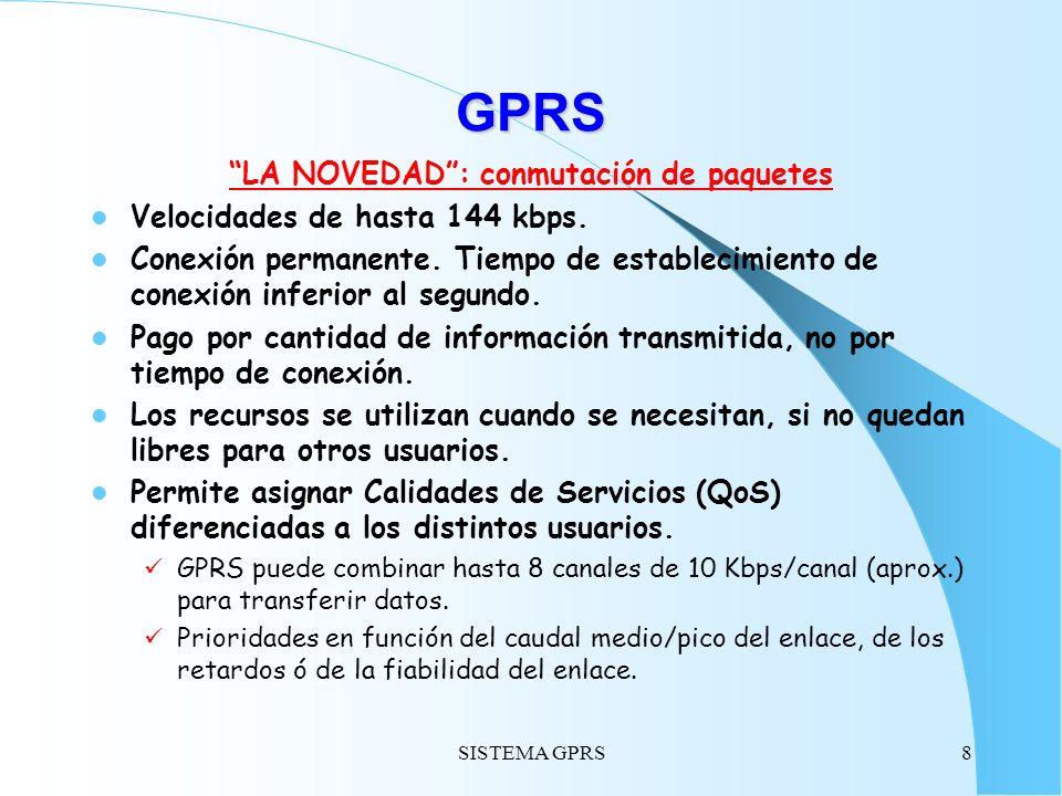 SISTEMA GPRS8 GPRS LA NOVEDAD: conmutación de paquetes Velocidades de hasta 144 kbps. Conexión permanente. Tiempo de establecimiento de conexión infer