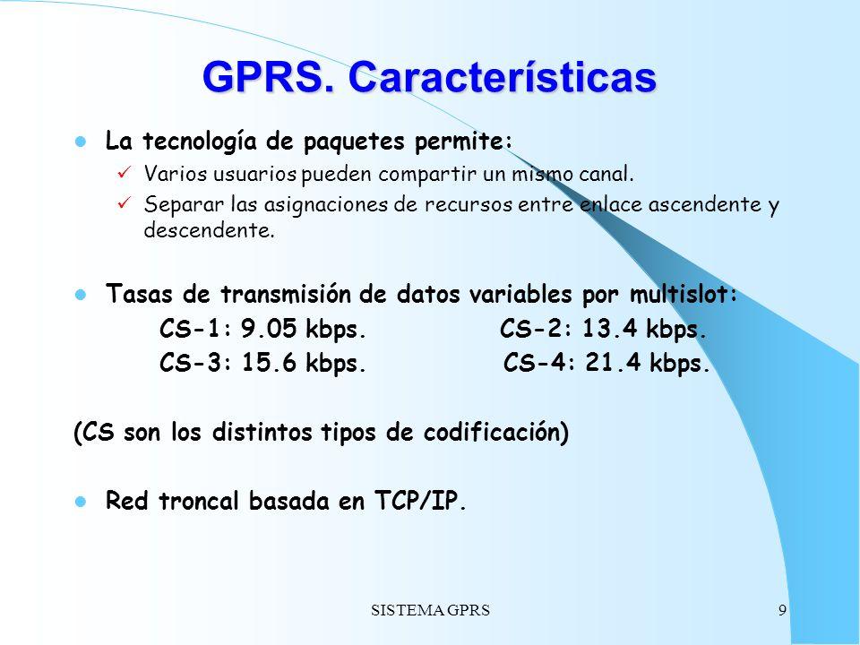 SISTEMA GPRS9 GPRS. Características La tecnología de paquetes permite: Varios usuarios pueden compartir un mismo canal. Separar las asignaciones de re