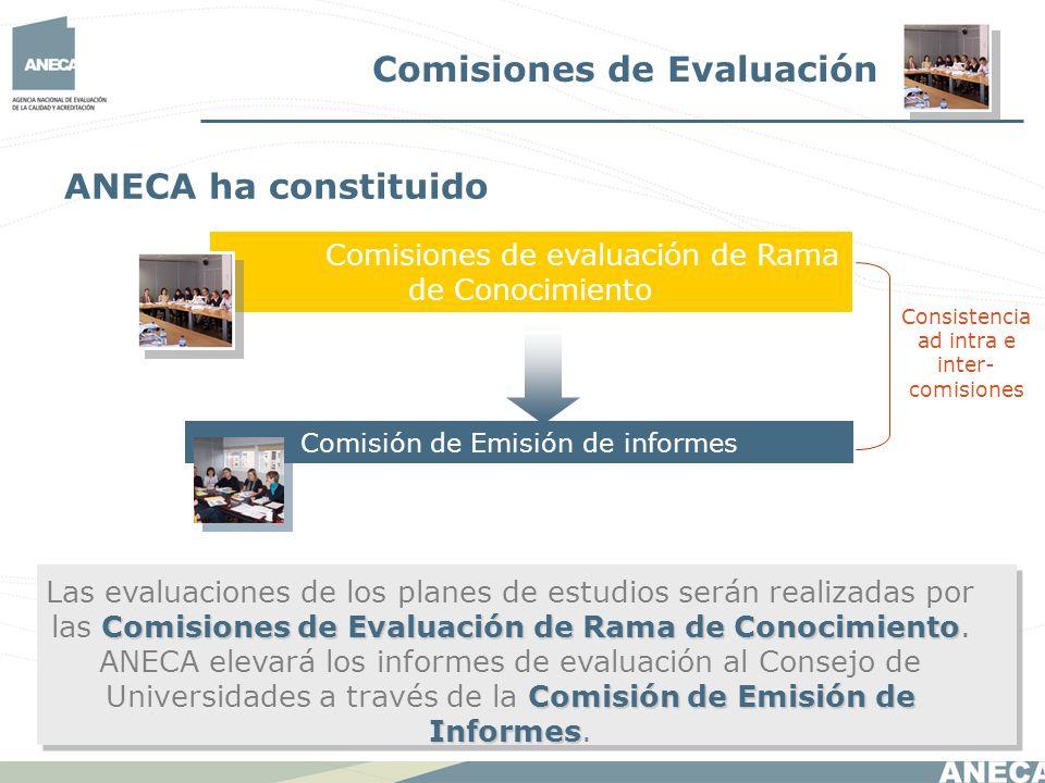 Comisiones de Evaluación Comisiones de evaluación de Rama de Conocimiento Comisión de Emisión de informes ANECA ha constituido Comisiones de Evaluació