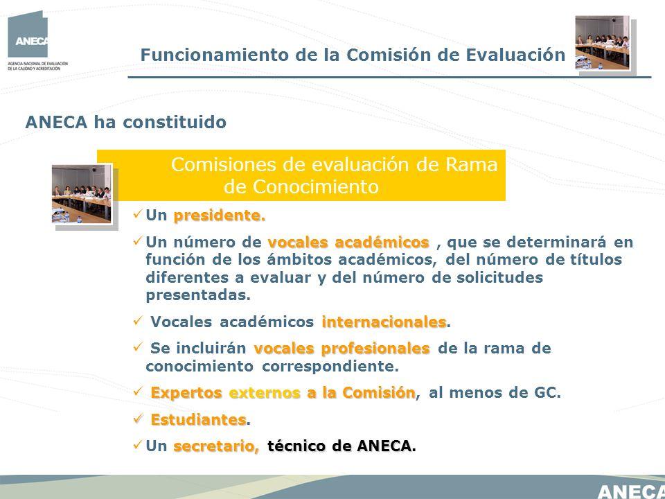 Funcionamiento de la Comisión de Evaluación Comisiones de evaluación de Rama de Conocimiento ANECA ha constituido presidente. Un presidente. vocales a
