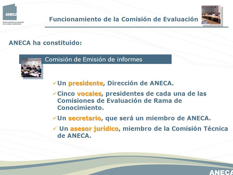 Funcionamiento de la Comisión de Evaluación ANECA ha constituido: Comisión de Emisión de informes presidente Un presidente, Dirección de ANECA. vocale
