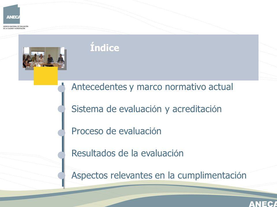 Antecedentes y marco normativo actual Sistema de evaluaci ó n y acreditaci ó n Proceso de evaluaci ó n Resultados de la evaluaci ó n Aspectos relevant