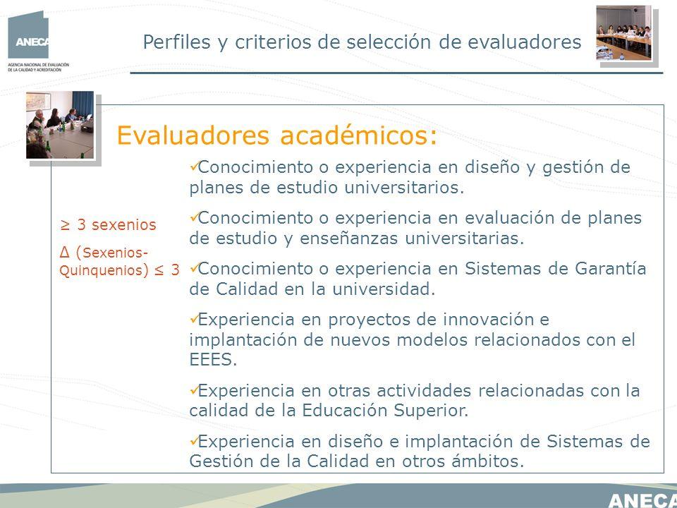 Perfiles y criterios de selección de evaluadores Conocimiento o experiencia en diseño y gestión de planes de estudio universitarios. Conocimiento o ex