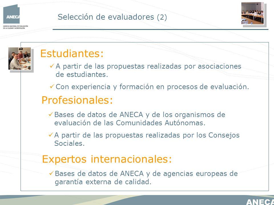 Selección de evaluadores (2) A partir de las propuestas realizadas por asociaciones de estudiantes. Con experiencia y formación en procesos de evaluac