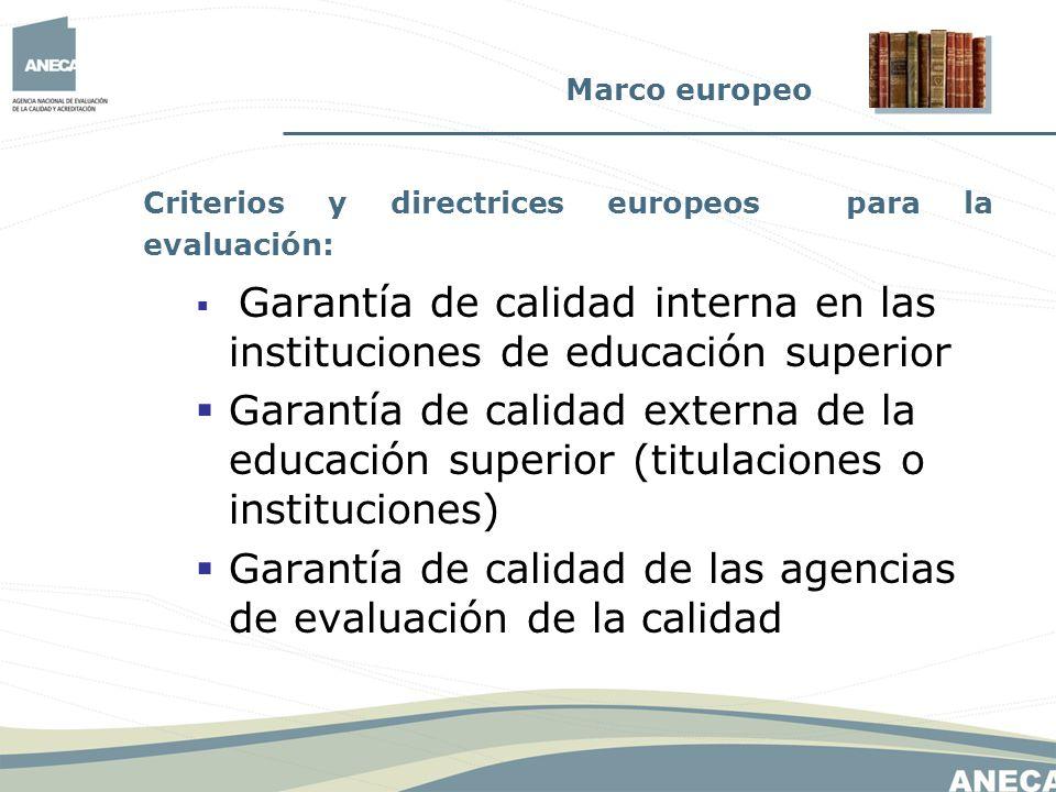 Criterios y directrices europeos para la evaluación: Garantía de calidad interna en las instituciones de educación superior Garantía de calidad extern