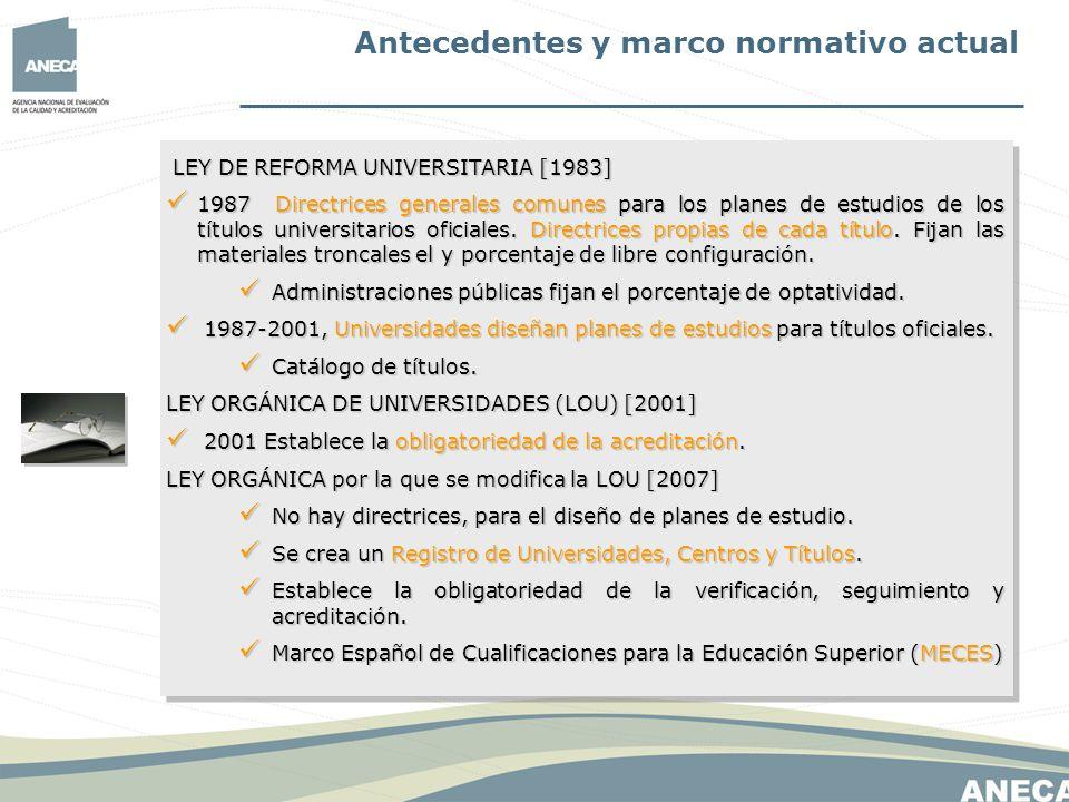 Antecedentes y marco normativo actual LEY DE REFORMA UNIVERSITARIA [1983] LEY DE REFORMA UNIVERSITARIA [1983] 1987 Directrices generales comunes para