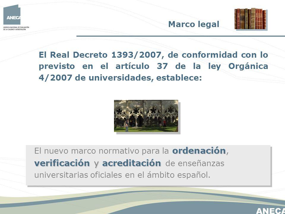 El Real Decreto 1393/2007, de conformidad con lo previsto en el artículo 37 de la ley Orgánica 4/2007 de universidades, establece: ordenación verifica
