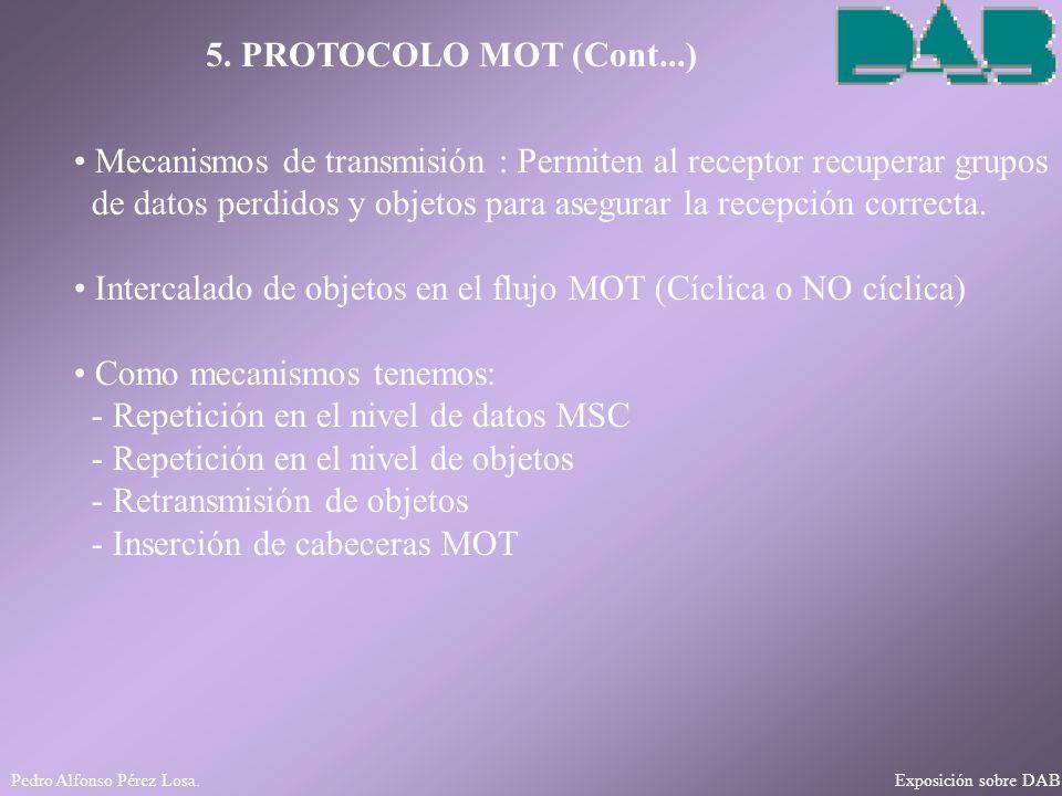 Pedro Alfonso Pérez Losa. Exposición sobre DAB 5. PROTOCOLO MOT (Cont...) Mecanismos de transmisión : Permiten al receptor recuperar grupos de datos p