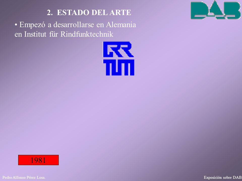 Pedro Alfonso Pérez Losa. Exposición sobre DAB 2. ESTADO DEL ARTE 1981 Empezó a desarrollarse en Alemania en Institut für Rindfunktechnik