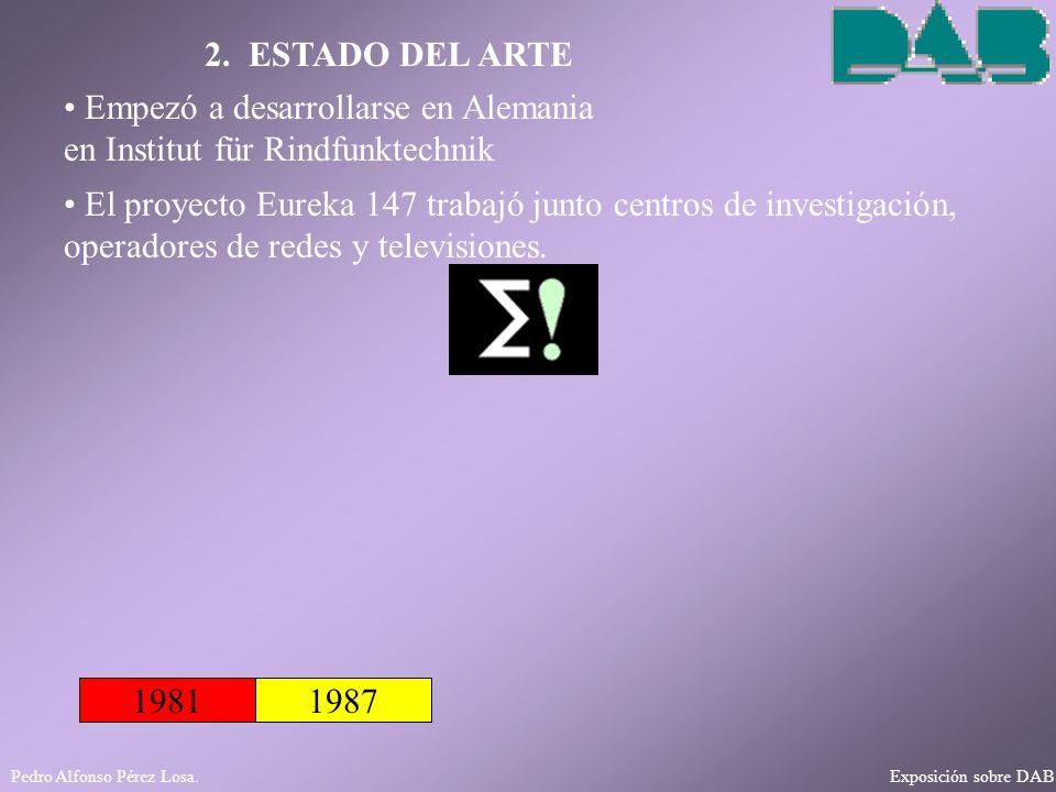 Pedro Alfonso Pérez Losa. Exposición sobre DAB 2. ESTADO DEL ARTE 19811987 Empezó a desarrollarse en Alemania en Institut für Rindfunktechnik El proye