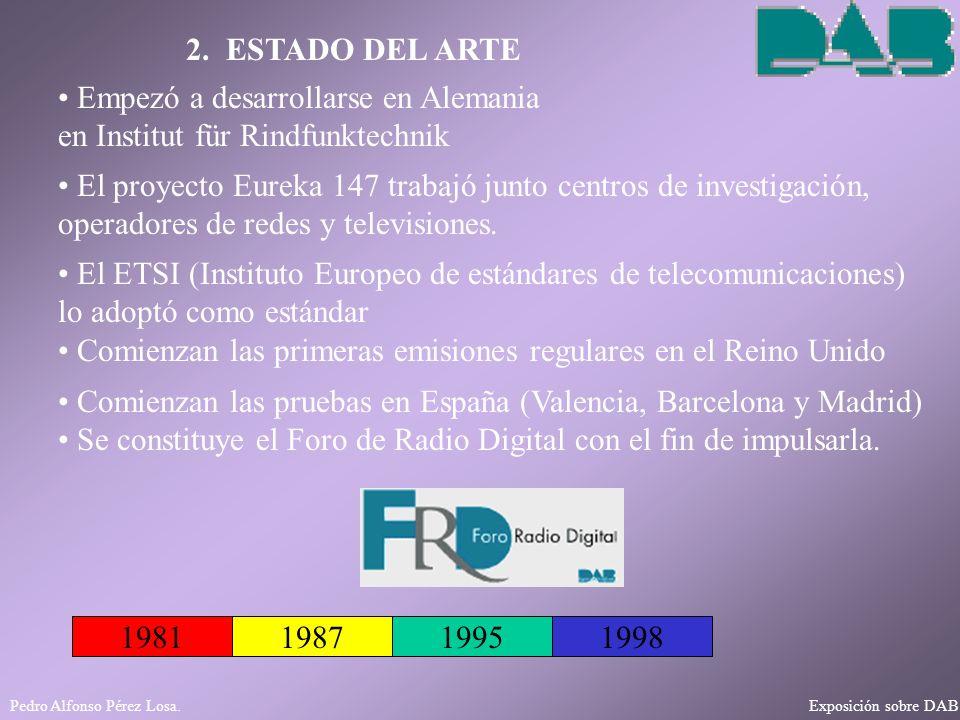 Pedro Alfonso Pérez Losa. Exposición sobre DAB 2. ESTADO DEL ARTE 198119871995 Empezó a desarrollarse en Alemania en Institut für Rindfunktechnik El E