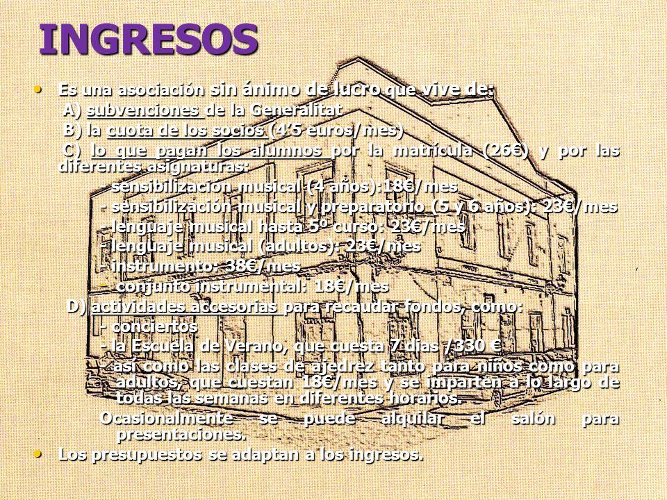 INGRESOS Es una asociación sin ánimo de lucro que vive de: Es una asociación sin ánimo de lucro que vive de: A) subvenciones de la Generalitat A) subv