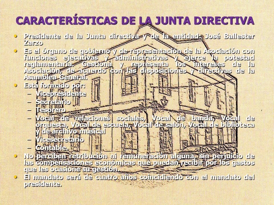 CARACTERÍSTICAS DE LA JUNTA DIRECTIVA Presidente de la Junta directiva y de la entidad: José Ballester Zarzo Presidente de la Junta directiva y de la
