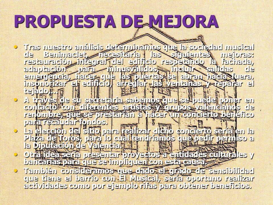 PROPUESTA DE MEJORA Tras nuestro análisis determinamos que la sociedad musical de Benimaclet, necesitaría las siguientes mejoras: restauración integra