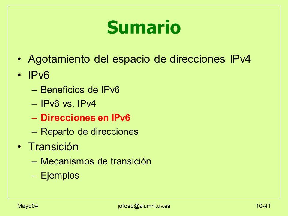 Mayo04jofoso@alumni.uv.es10-41 Sumario Agotamiento del espacio de direcciones IPv4 IPv6 –Beneficios de IPv6 –IPv6 vs. IPv4 –Direcciones en IPv6 –Repar