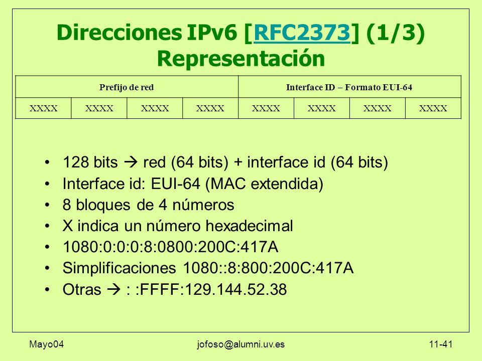 Mayo04jofoso@alumni.uv.es11-41 Direcciones IPv6 [RFC2373] (1/3) RepresentaciónRFC2373 128 bits red (64 bits) + interface id (64 bits) Interface id: EU
