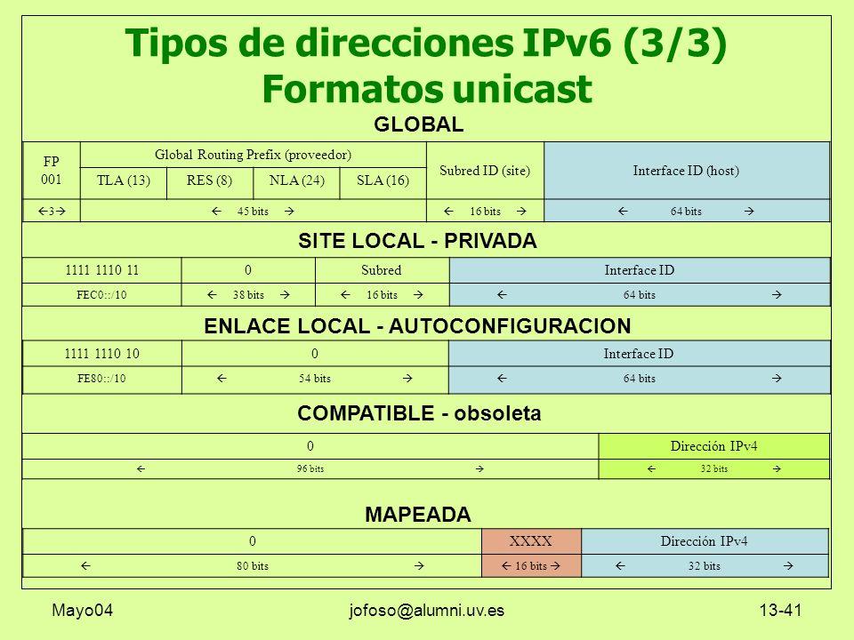 Mayo04jofoso@alumni.uv.es13-41 Tipos de direcciones IPv6 (3/3) Formatos unicast 1111 1110 110SubredInterface ID FEC0::/10 38 bits 16 bits 64 bits FP 0
