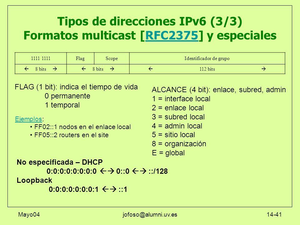 Mayo04jofoso@alumni.uv.es14-41 Tipos de direcciones IPv6 (3/3) Formatos multicast [RFC2375] y especialesRFC2375 1111 FlagScopeIdentificador de grupo 8