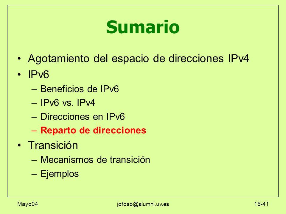 Mayo04jofoso@alumni.uv.es15-41 Sumario Agotamiento del espacio de direcciones IPv4 IPv6 –Beneficios de IPv6 –IPv6 vs. IPv4 –Direcciones en IPv6 –Repar