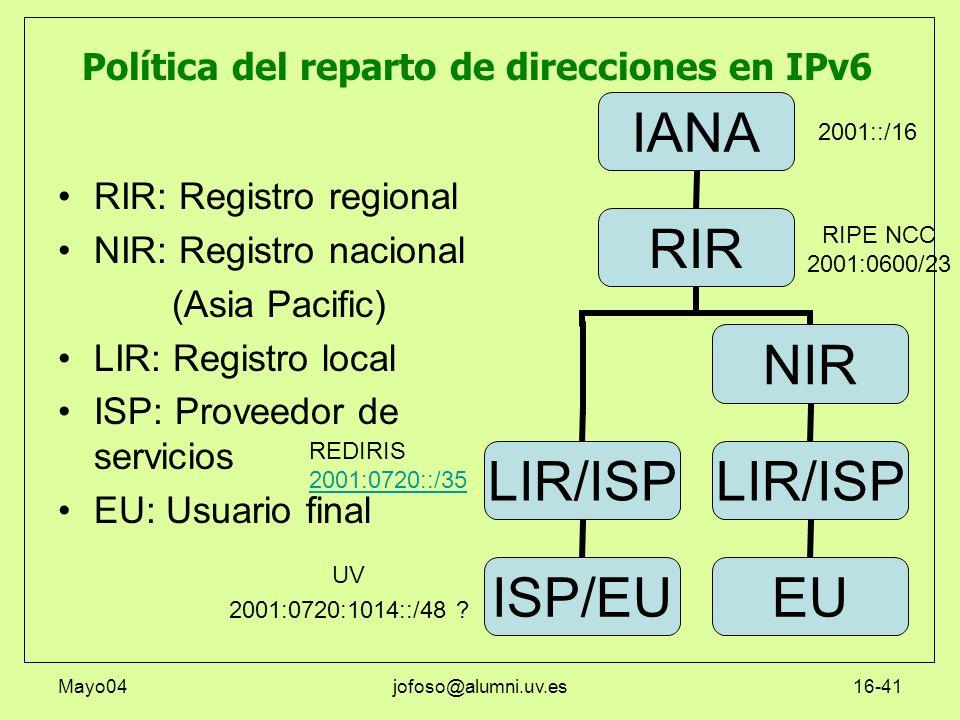 Mayo04jofoso@alumni.uv.es16-41 RIR: Registro regional NIR: Registro nacional (Asia Pacific) LIR: Registro local ISP: Proveedor de servicios EU: Usuari