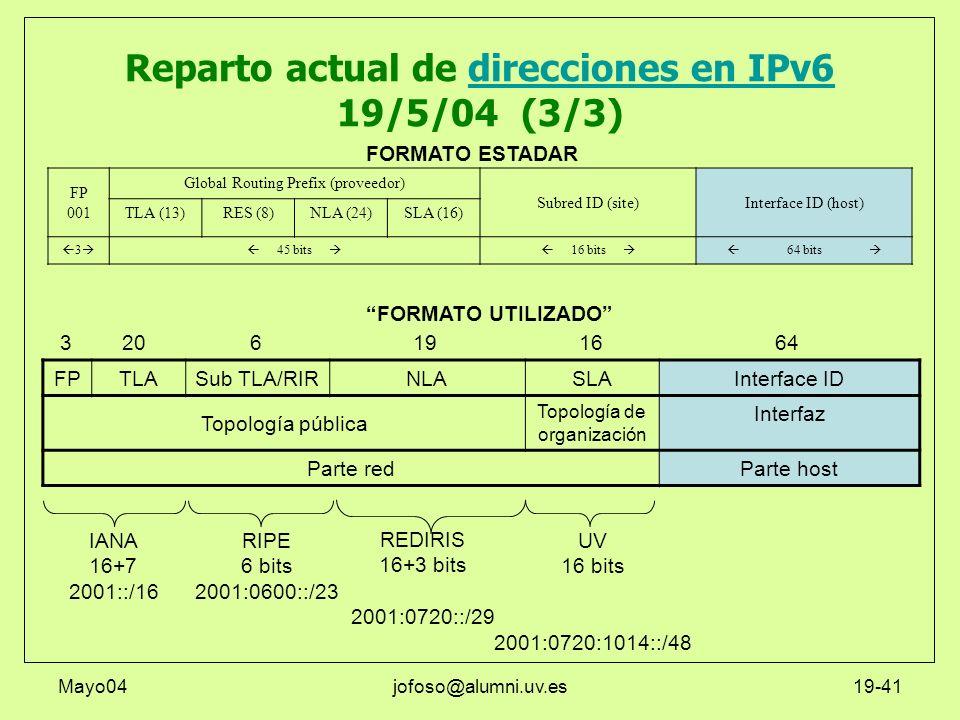Mayo04jofoso@alumni.uv.es19-41 Reparto actual de direcciones en IPv6 19/5/04 (3/3)direcciones en IPv6 FPTLASub TLA/RIRNLASLAInterface ID Topología púb