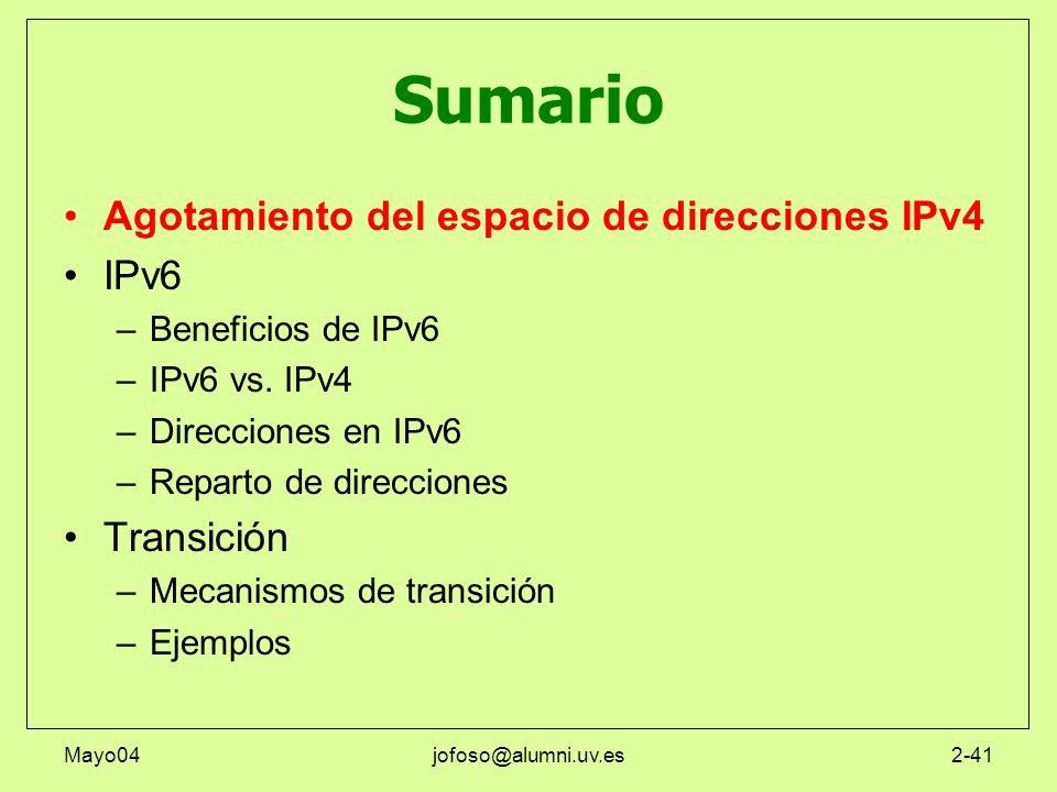 Mayo04jofoso@alumni.uv.es2-41 Sumario Agotamiento del espacio de direcciones IPv4 IPv6 –Beneficios de IPv6 –IPv6 vs. IPv4 –Direcciones en IPv6 –Repart