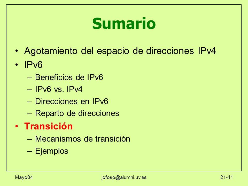 Mayo04jofoso@alumni.uv.es21-41 Sumario Agotamiento del espacio de direcciones IPv4 IPv6 –Beneficios de IPv6 –IPv6 vs. IPv4 –Direcciones en IPv6 –Repar