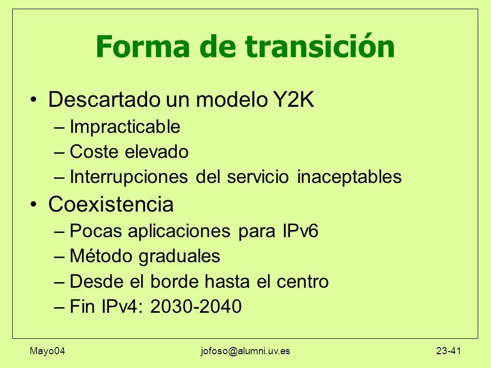 Mayo04jofoso@alumni.uv.es23-41 Forma de transición Descartado un modelo Y2K –Impracticable –Coste elevado –Interrupciones del servicio inaceptables Co